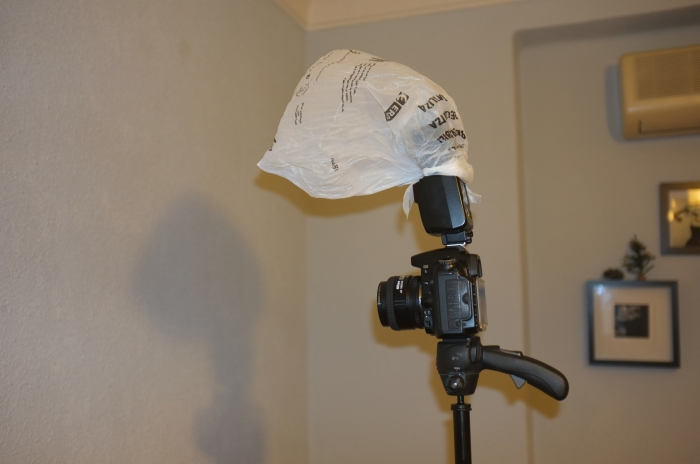 Lighting setup with a very DIY diffuser